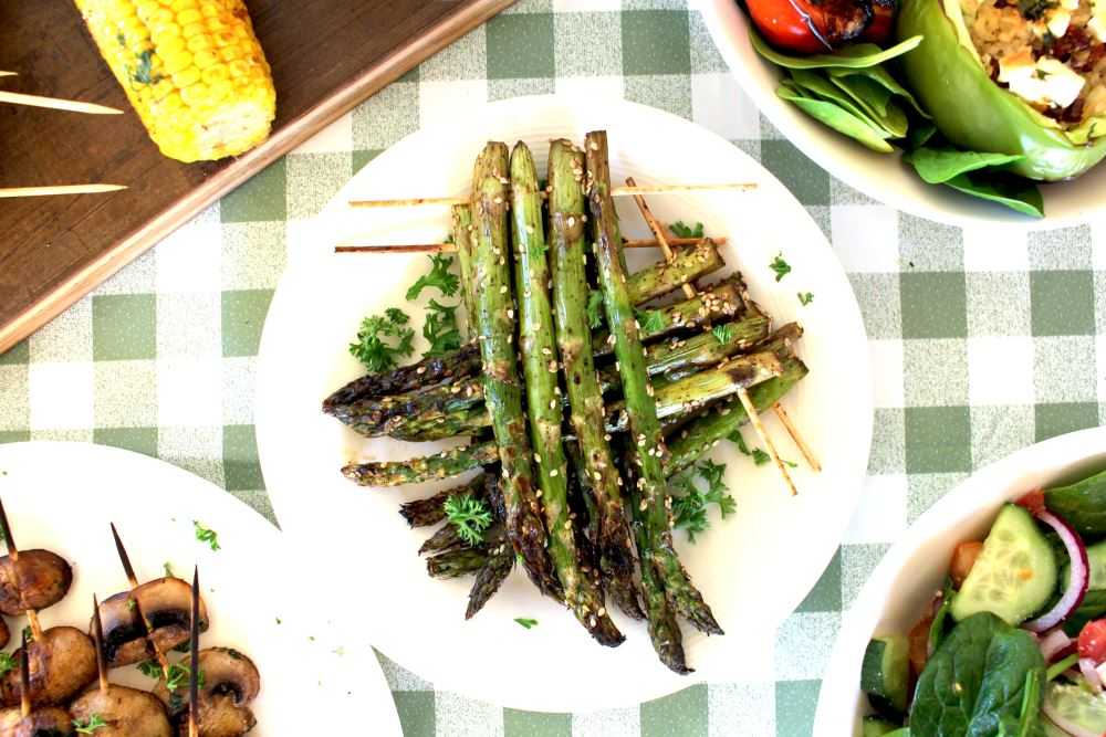 BBQ Sesame and Soy Asparagus Skewers