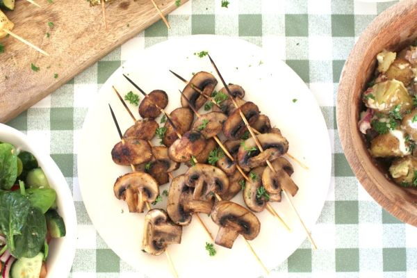 garlic mushroom skewers - Anna's Nutrition